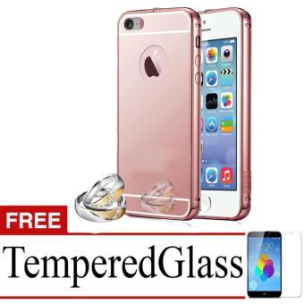 Harga X Case Mirror Aluminium Bumper For Iphone 5G/S Free Tempered Glass - Rose