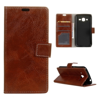 Harga Crazy Horse Pattern Wallet Leather Case Flip Cover for Samsung Galaxy J2 (2016) J210 - Brown - intl