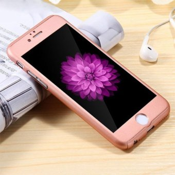 Harga Hardcase 360 Casing Hp full Body Free Tempered Glass iPhone 6 Plus/ 6S Plus ( Rose Gold)