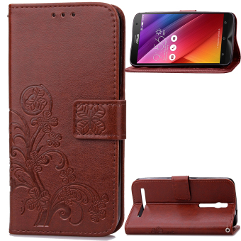 Imprinted Four-leaf Clovers Leather Wallet Case for Asus Zenfone 2 ZE550ML ZE551ML (Brown