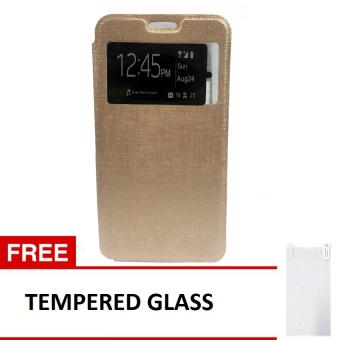 Flip Case Xiaomi Redmi Note 1 Emas Gratis Tempered Glass