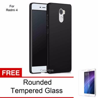 Calandiva 360 Degree Protection Case for Xiaomi Redmi 4 - Black + Rounded Tempered Glass