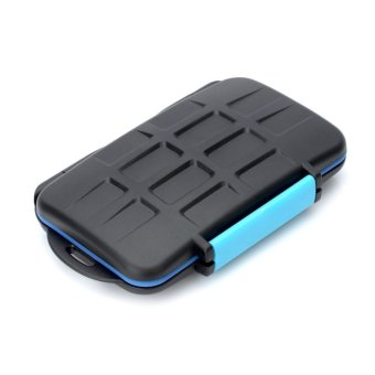 Harga JJC Water Proof Plastic CF / SD Memory Card Case - Black + Blue