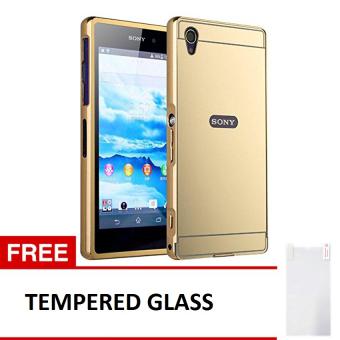 Case For Sony Xperia M4 Aqua Bumper Slide Mirror - Gold + Free Tempered Glass