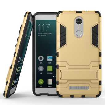 Case TPU and Hard Polycarbonate Case for Xiaomi Redmi Note 3 Pro - Gold + Free Tempered Glass