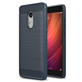 Harga Carbon Fiber Anti-drop TPU Soft Phone Cases For Xiaomi Redmi Note 4 - Biru Navi + Free Tempered Galss