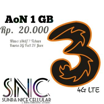 Harga Perdana Kuota Three AON 1 GB 3G