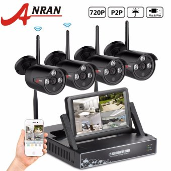 "Harga ANRAN 4CH Wireless Camera Surveillance System 7"" LCD NVR Kit P2P 720P HD Outdoor IR WIFI CCTV IP Camera - intl"
