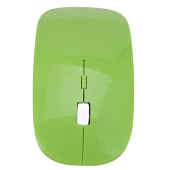 Harga 2016 High Quality 2.4G USB Receiver Ultra Slim DIP Rechargeable Optical Cordless Wireless Mouse Laptop Wireless Mouse (Green)