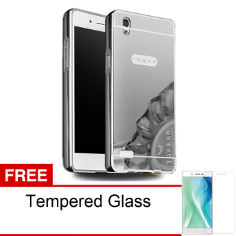 Case For Oppo Mirror 5 / A51T Bumper Slide Mirror - Silver + Free Tempered Glass