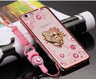 Harga OPPO f3 plus Case, Glitter Crystal Floral Series - Slim Luxury Bling Rhinestone Clear TPU Case With Ring Stand For OPPO f3 plus(Rose Gold) - intl