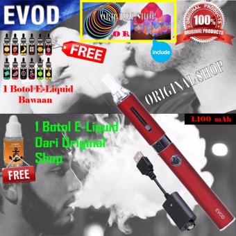 Harga Original Evod Rokok Elektrik FULL KITS Include item di dalam box kuning + 1 botol E-Liquid - Merah