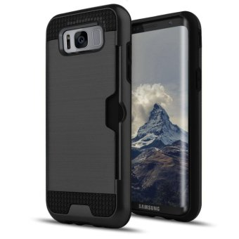 Harga Shockproof Armor Rubber Soft TPU + Hard PC Credit Card Slot Case for Samsung Galaxy S8 Plus(Black) - intl