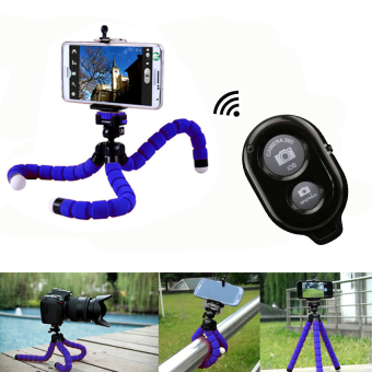 Harga Wireless Bluetooth Remote Shutter Button + Flexible Tripod Octopus Selfie Holder Support for Smartphone and Camera (Blue) - Intl