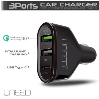 Harga UNEED Qualcomm Quick Charge 3.0 Car Charger Dual USB Port & Type C Port - UCCH02