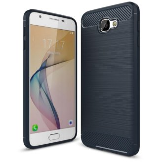 Harga Softcase Carbon Fiber Anti-drop TPU Soft Phone Cases For Samsung Galaxy J7 Prime - Biru Navi + Free Tempered Galss