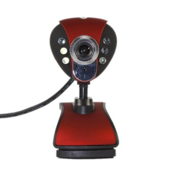 Harga USB 50.0 Mega 6 LED HD Webcam with MIC for Computer(red)