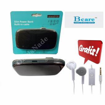 Harga Bcare Slim Power Bank 12000 mAh Built-in Cable Original Hitam+Gratis Handfree samsung GH59