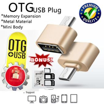 Harga Trend's Mini Micro USB OTG Data Cable Adapter 2.0 Hub Converter For Android Smartphone Samsung Galaxy / Oppo / Xiaomi / LG / Sony / Huawei Dll - Gold + Gratis Noosy Sim Card Adapter 3in1