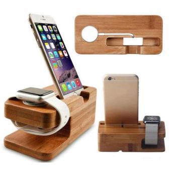 Harga Bamboo Wood Charge Holder Docking Station Cradle Bracket For Apple Watch iPhone - intl