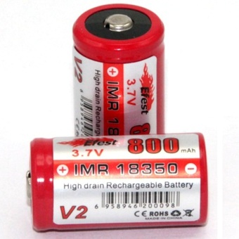 Harga Efest IMR 18350 Li-Mn Battery 800mAh 3.7V with Button Top - 18350V2 - Red