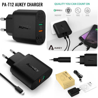 Harga AUKEY, PA-T12 Quick Charge 2.0+1, 30w USB Wall Charger Dual Ports