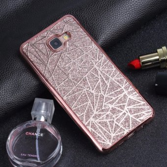 Harga Shockproof Bling 3D Electroplated Bumper Water Cube Pattern Soft TPU Case for Samsung Galaxy A720 A7 2017(Rose Gold) - intl