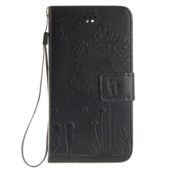 Harga Premium Magnetic Closure PU Leather Emboss Dandelion Wallet case Pattern with Card Slots Wrist Strap Flip Stand Cover for Lenovo S850 - intl