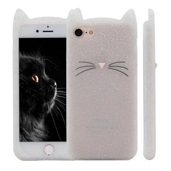 Harga iPhone 5 5s Case,Cute 3D Gray Glitter MEOW Party Cat Kitty Whiskers Soft Silicone Case for iPhone 5 5s 5SE (Cat-Glitter) - intl