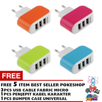 Harga Pokeshop Premium LED USB Charger 3 Port 3.1A - Casan Colokan Hp - Random - Gratis 3pc Kabel Data Android Micro USB Cable + penjepit kabel + bumper case smartphone
