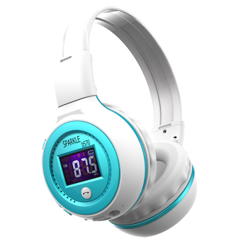 Harga ZEALOT B570 Foldable HiFi Stereo Wireless Bluetooth Headphone With LCD Screen FM Radio Micro-SD Slot (Blue)