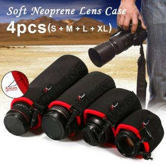 Harga XCSource 4pcs Neoprene Lens Pouch Soft Protective Case for Canon Universal S M L XL - Hitam