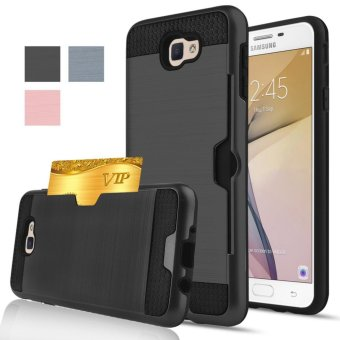 Harga Shockproof Armor Rubber Soft TPU + Hard PC Credit Card Slot Case for Samsung Galaxy A7 2017/A720(Black) - intl