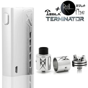 Harga Tesla Terminator 90W Vape Starter Kit AUTHENTIC + RDA The REcoil - Silver