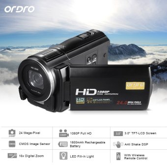 "Harga ORDRO HDV-F5 1080P Full HD 3.0"" Rotatable Touch Screen LCD Digital Video Camera Recorder Camcorder DV DVR 24MP 16X Digital Zoom Anti-shake with Remote Controller - Intl"