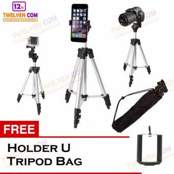 Harga Weifeng WT311A Tripod Stainless with 3x Extend Leg - Suite For Smartphone & Camera - Silver + Free Holder U