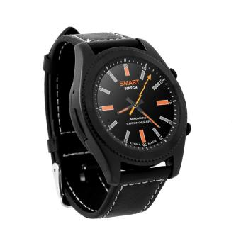 Harga NO.1 S9 Smart Watch Bluetooth 4.0 Comes with NFC Function IOS Andrews Dual System Can Test Heart Rate - Black Strap Leather Strap - intl