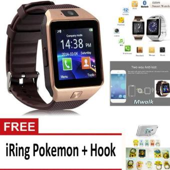 Harga Bluetooth Smart Watch DZ09 with Camera for Android and iOS – Gold + Free iRing Pokemon