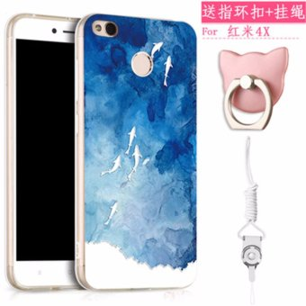 High Quality Soft TPU 3D Relief Painting Stereo Feeling Back Cover Case For Xiaomi Redmi 4X