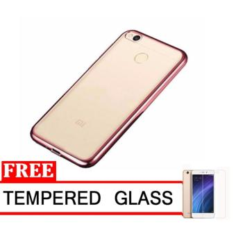 Softcase Silicon Jelly Case List Shining Chrome for Xiaomi Redmi 4A – Rose Gold + Free