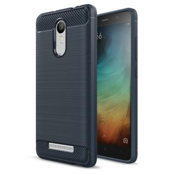Harga Softcase Carbon Fiber Anti-drop TPU Soft Phone Cases For Xiaomi Redmi Note 3 - Biru Navi + Free Tempered Galss