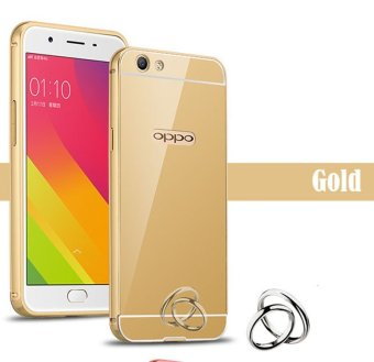 Harga OPPO f3 plus Case,Luxury Metal Air Aluminum Bumper Detachable + Mirror Hard Back Case 2 in 1 cover Ultra-Thin Frame Case For OPPO f3 plus (Gold) - intl