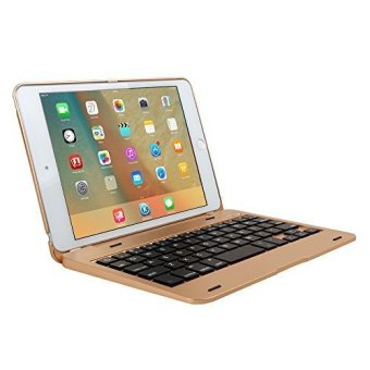 Harga Keyboard Aluminium Wireless Bluetooth Keyboard Folio Smart Case Stand Cover Shell for Apple iPad Mini 4th Gen 2015 Release (Gold)