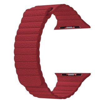 Harga top4cus 38mm Leather Loop with Adjustable Magnetic Closure For iWatch Band Replacement Bracelet Strap for Apple Watch 38mm Model Series 1 and Series 2 - Red - intl