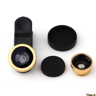 Harga Universal Clip Lens Quality 3in1 Fish Eye Macro Wide for All Smartphone - Gold