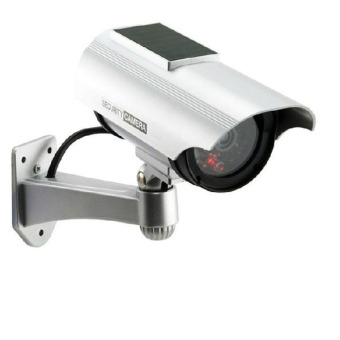 Harga Best Dummy Fake CCTV Palsu Solar Powered Security Surveillance Outdoor Bullet Cam - Silver
