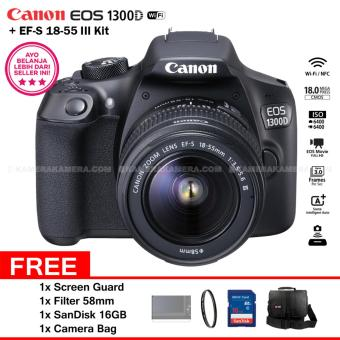 Harga Canon EOS 1300D (Wi-Fi) 18-55mm III + Screen Guard + Filter 58mm + SanDisk 16Gb + Camera Bag