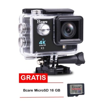 Harga Bcare Action Camera - B-Cam X-3 WiFi - 16MP - Full HD 4K - Sony Sensor - Waterproof 30m 2 inch - Hitam + Gratis Bcare SD Card 16 GB