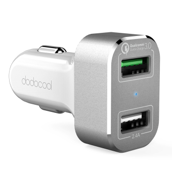Harga dodocool 30W 2-Port USB Car Charger with Quick Charge 3.0 for LG G5 / HTC One A9 / Xiaomi Mi 5 / LeTV Le MAX Pro and More USB-powered Devices White Silver - intl