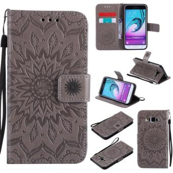 Sunflower pattern PU Leather Wallet Stand Flip Case Cover For Samsung Galaxy J3(2016)